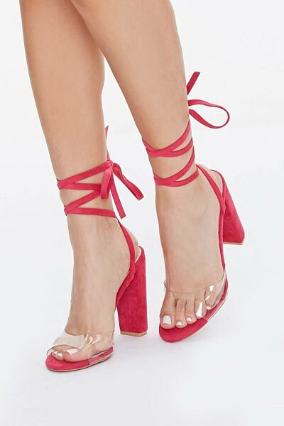 Forever 21 Pink Lace-Up Clear-Strap Heels WOMEN Women SHOES Womens HIGH HEELS