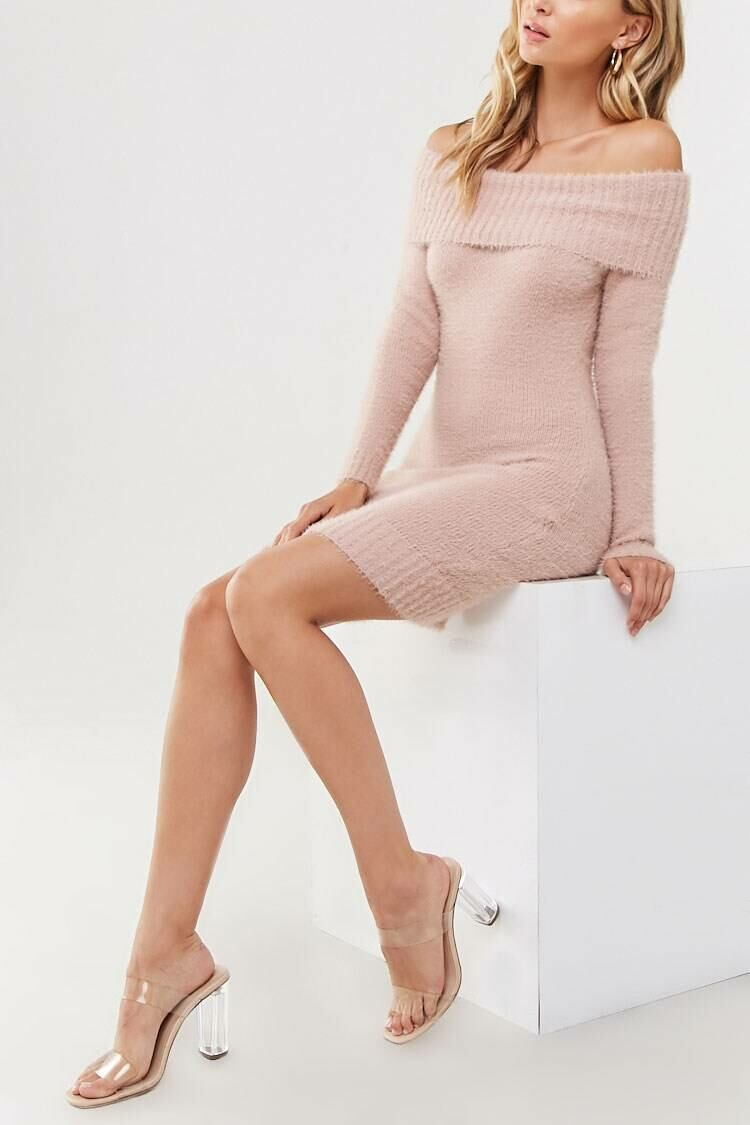 Forever 21 Pink Off-the-Shoulder Sweater Dress WOMEN Women FASHION Womens SWEATERS