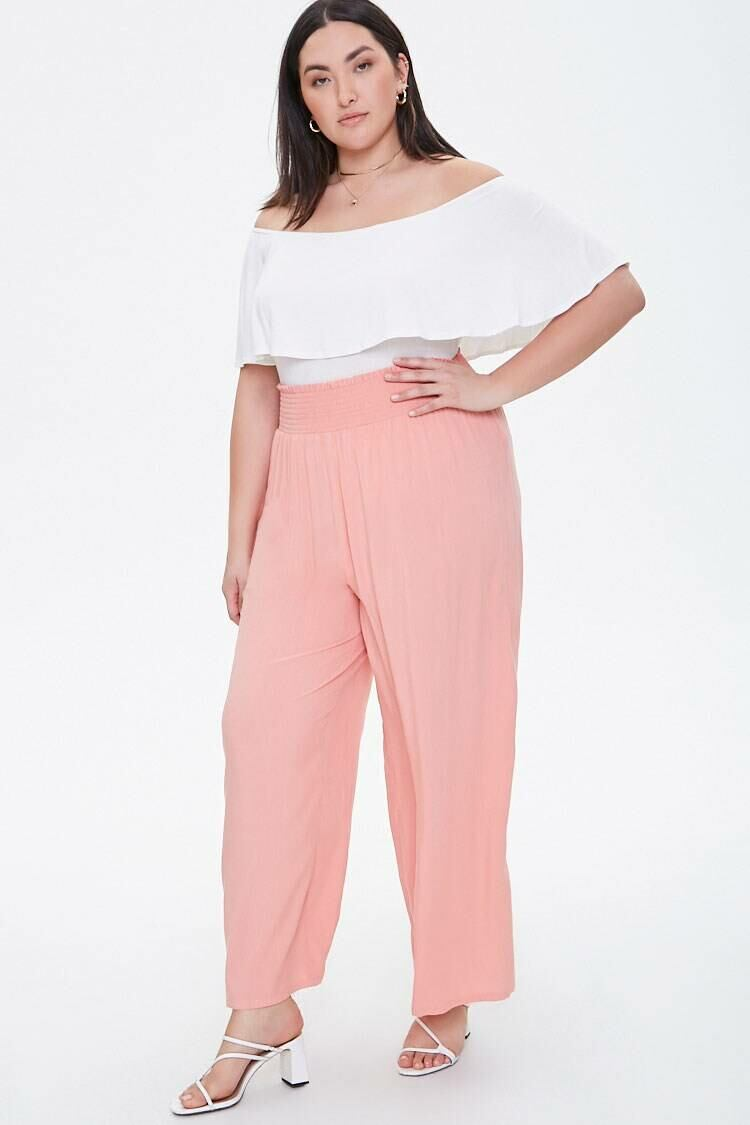 Forever 21 Pink Plus Size Smocked Wide-Leg Pants WOMEN Women FASHION Womens TROUSERS