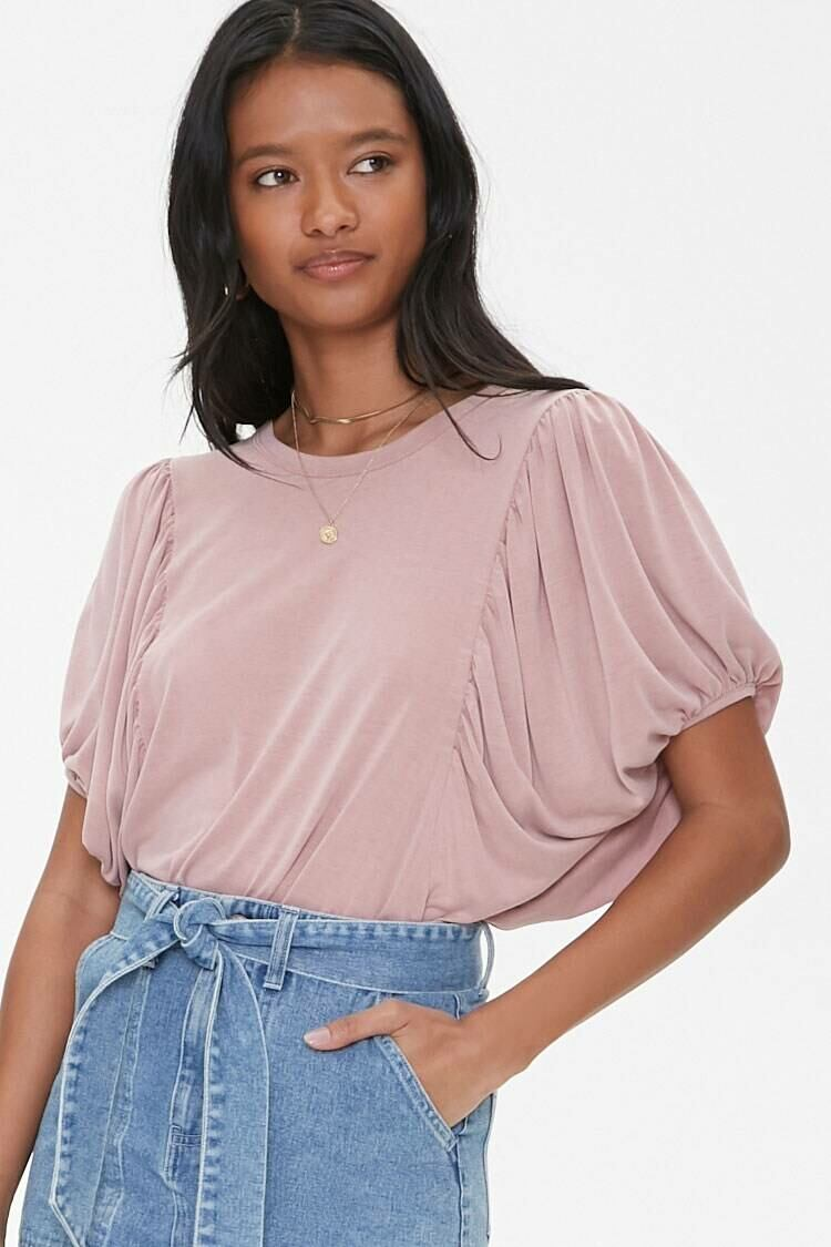 Forever 21 Pink Relaxed Dolman Sleeve Tee WOMEN Women FASHION Womens T-SHIRTS