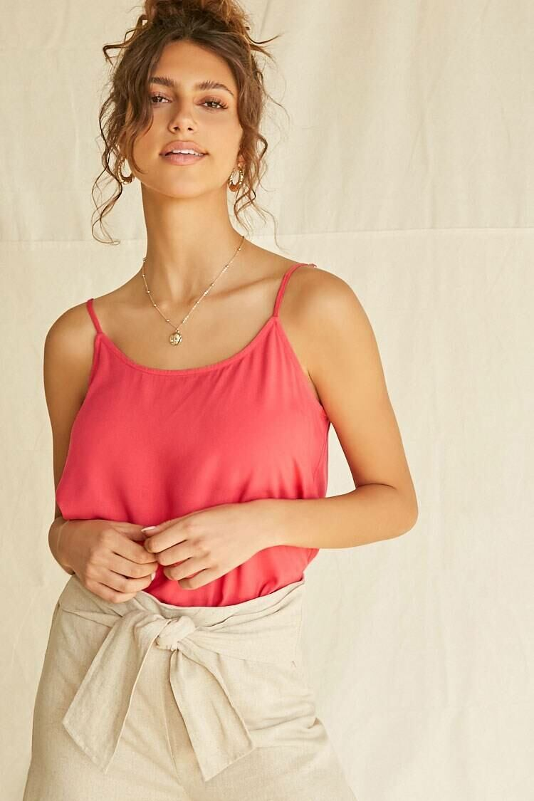 Forever 21 Pink Relaxed Scoop-Cut Cami WOMEN Women FASHION Womens TOPS