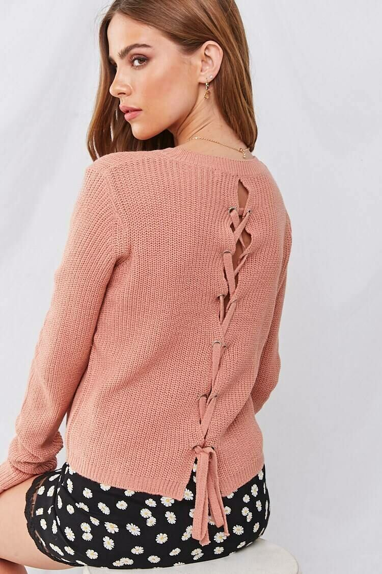 Forever 21 Pink Ribbed Lace-Up Sweater WOMEN Women FASHION Womens SWEATERS