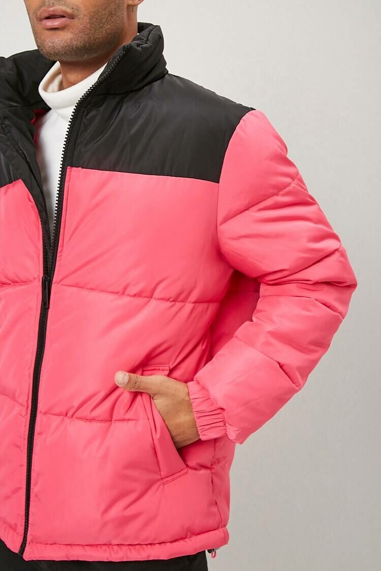 Forever 21 Pink/Black Colorblock Puffer Jacket MEN Men FASHION Mens JACKETS