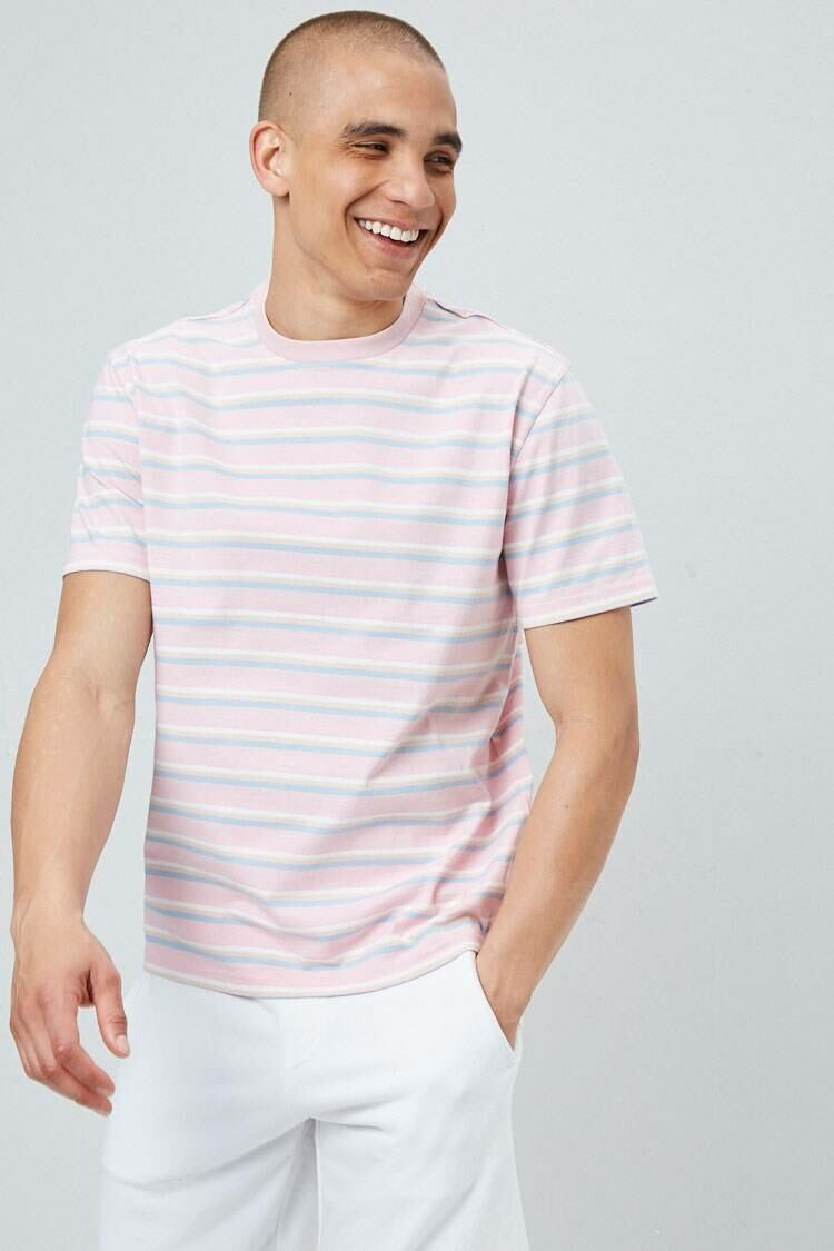 Forever 21 Pink/Yellow Multicolor Striped Tee MEN Men FASHION Mens T-SHIRTS