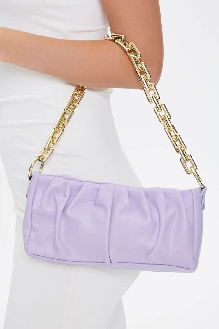 Forever 21 Purple Ruched Shoulder Bag WOMEN Women ACCESSORIES Womens BAGS