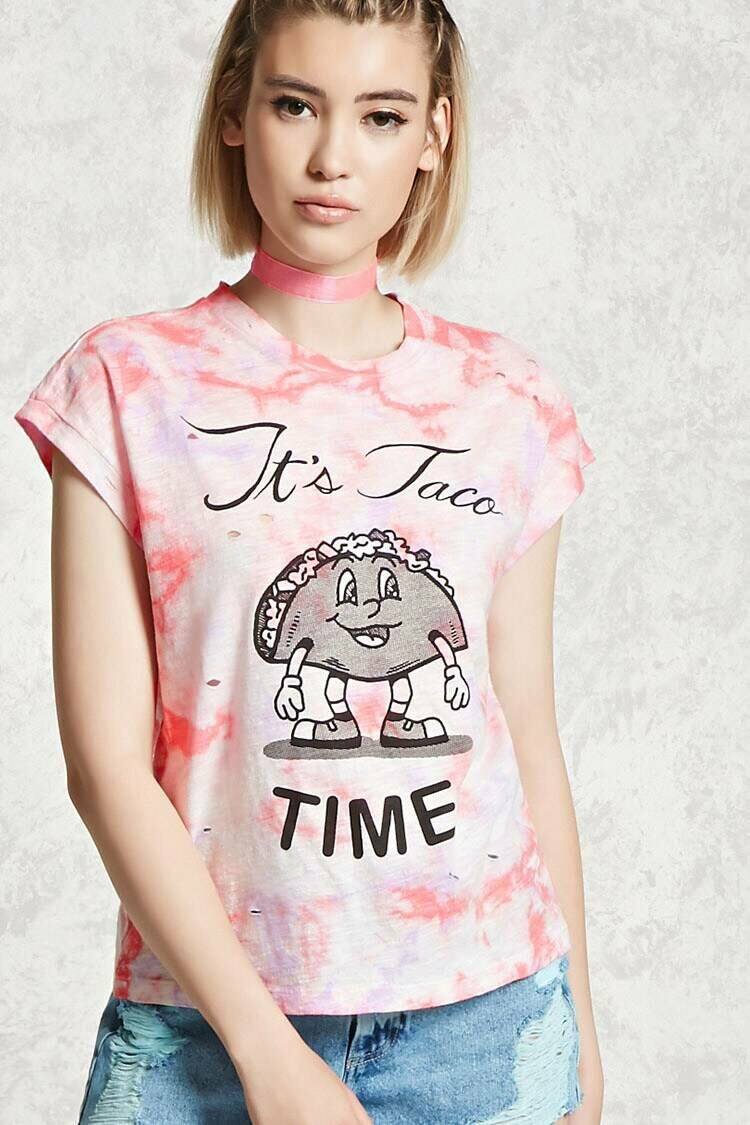 Forever 21 Purple/Coral Its Taco Time Graphic Tee WOMEN Women FASHION Womens T-SHIRTS