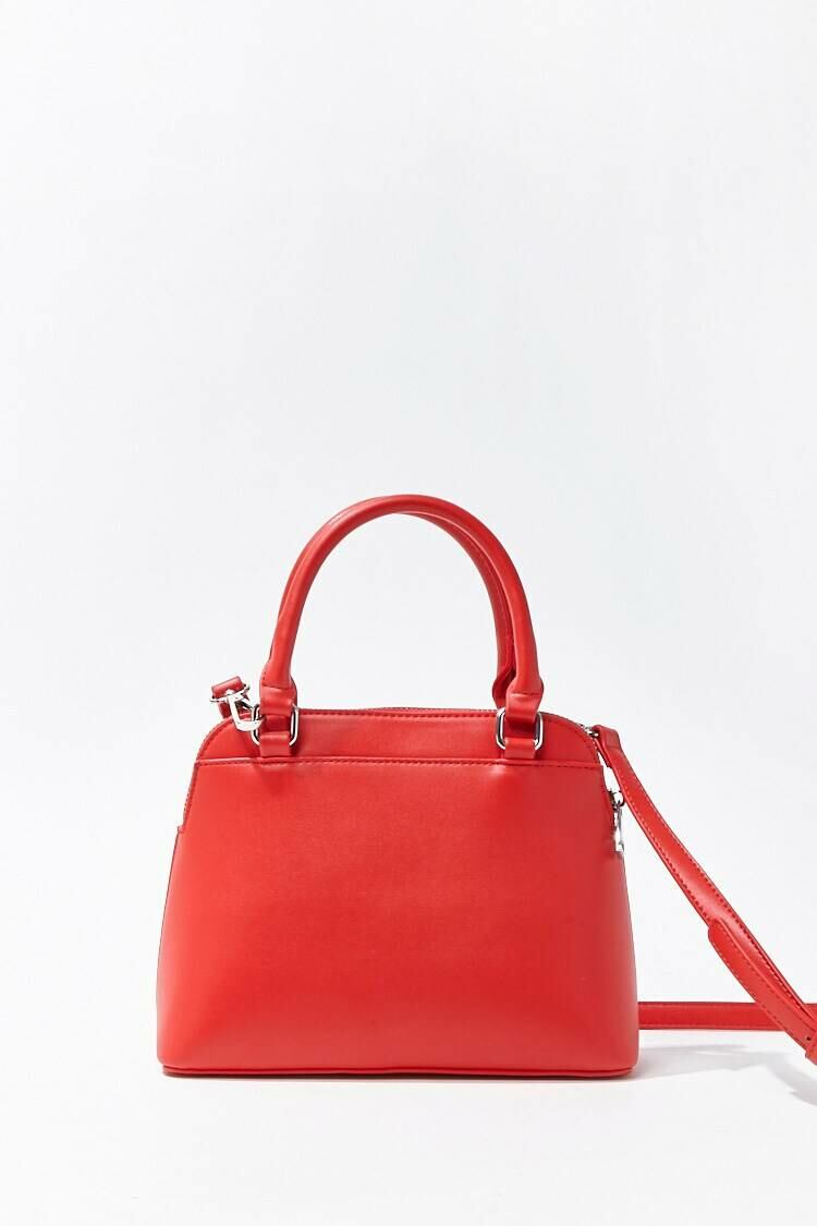 Forever 21 Red Convertible Faux Leather Satchel WOMEN Women ACCESSORIES Womens BAGS
