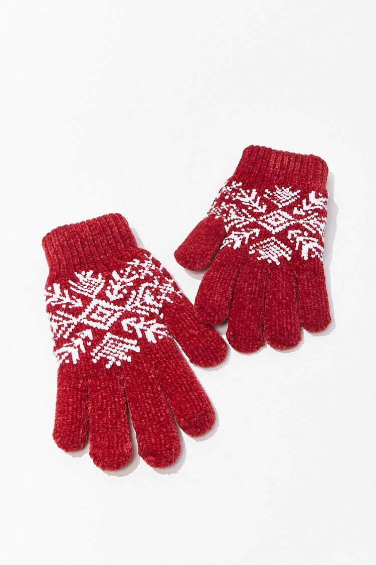 Forever 21 Red Fair Isle Print Gloves WOMEN Women ACCESSORIES Womens GLOVES