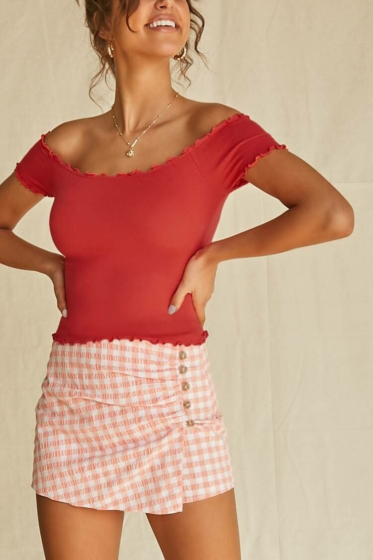 Forever 21 Red Fitted Off-the-Shoulder Top WOMEN Women FASHION Womens TOPS