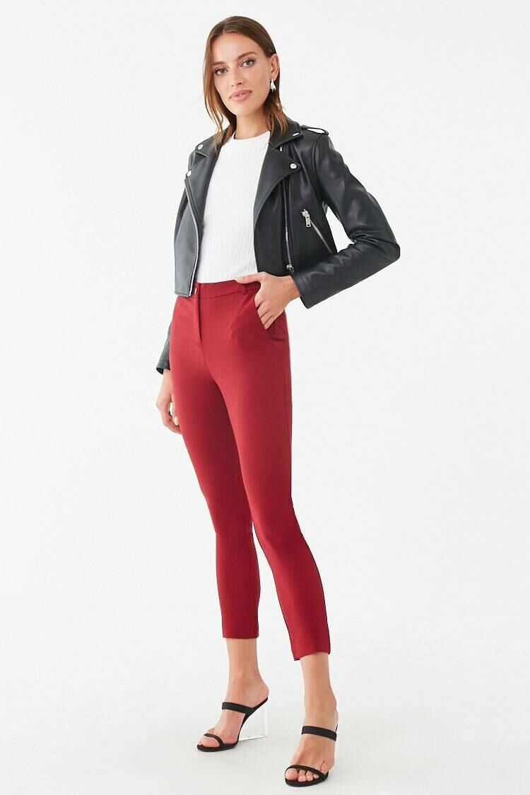 Forever 21 Red High-Rise Ankle Pants WOMEN Women FASHION Womens TROUSERS