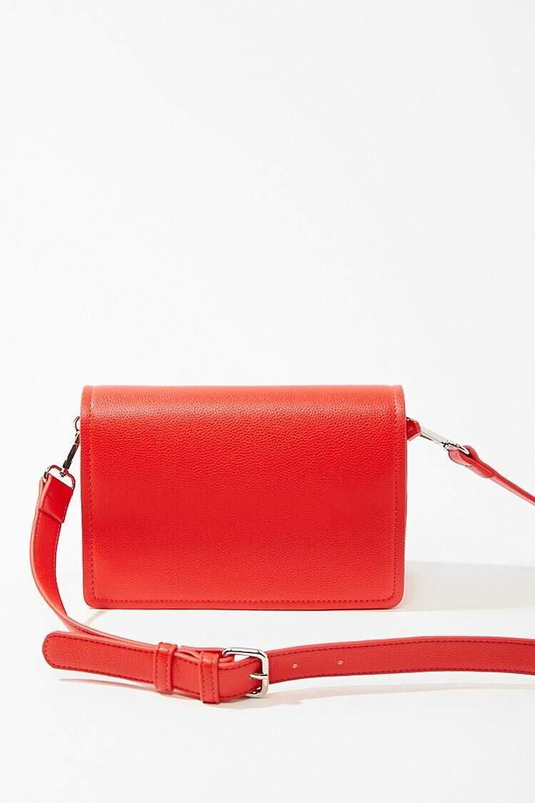 Forever 21 Red Pebbled Faux Leather Crossbody Bag WOMEN Women ACCESSORIES Womens BAGS