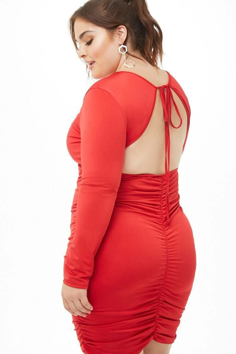 Forever 21 Red Plus Size Open-Back Ruched Dress WOMEN Women FASHION Womens DRESSES