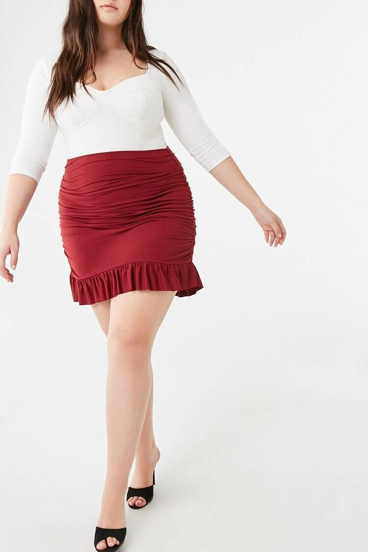 Forever 21 Red Plus Size Ruched Flounce-Hem Skirt WOMEN Women FASHION Womens SKIRTS