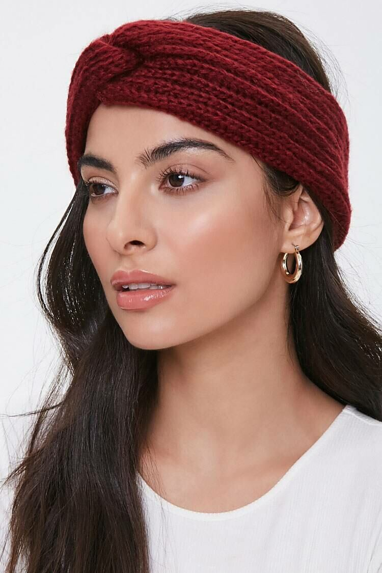 Forever 21 Red Ribbed Twist-Front Headwrap WOMEN Women ACCESSORIES Womens HATS