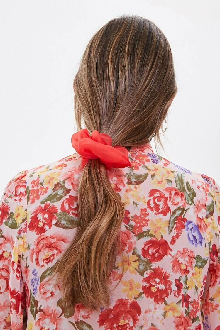 Forever 21 Red Sheer Organza Scrunchie WOMEN Women ACCESSORIES Womens HATS