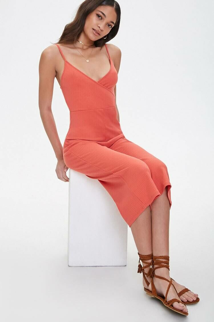 Forever 21 Red Surplice Cami Jumpsuit WOMEN Women FASHION Womens JUMPSUITS