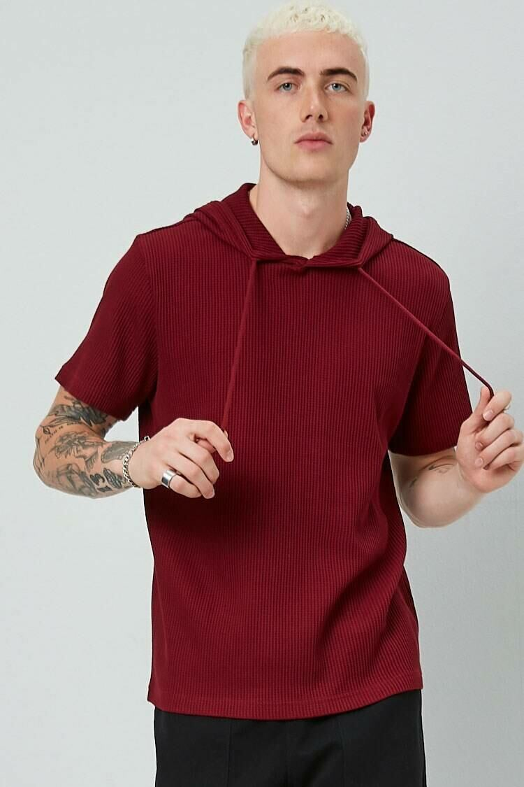 Forever 21 Red Thermal Short Sleeve Hoodie MEN Men FASHION Mens SWEATERS