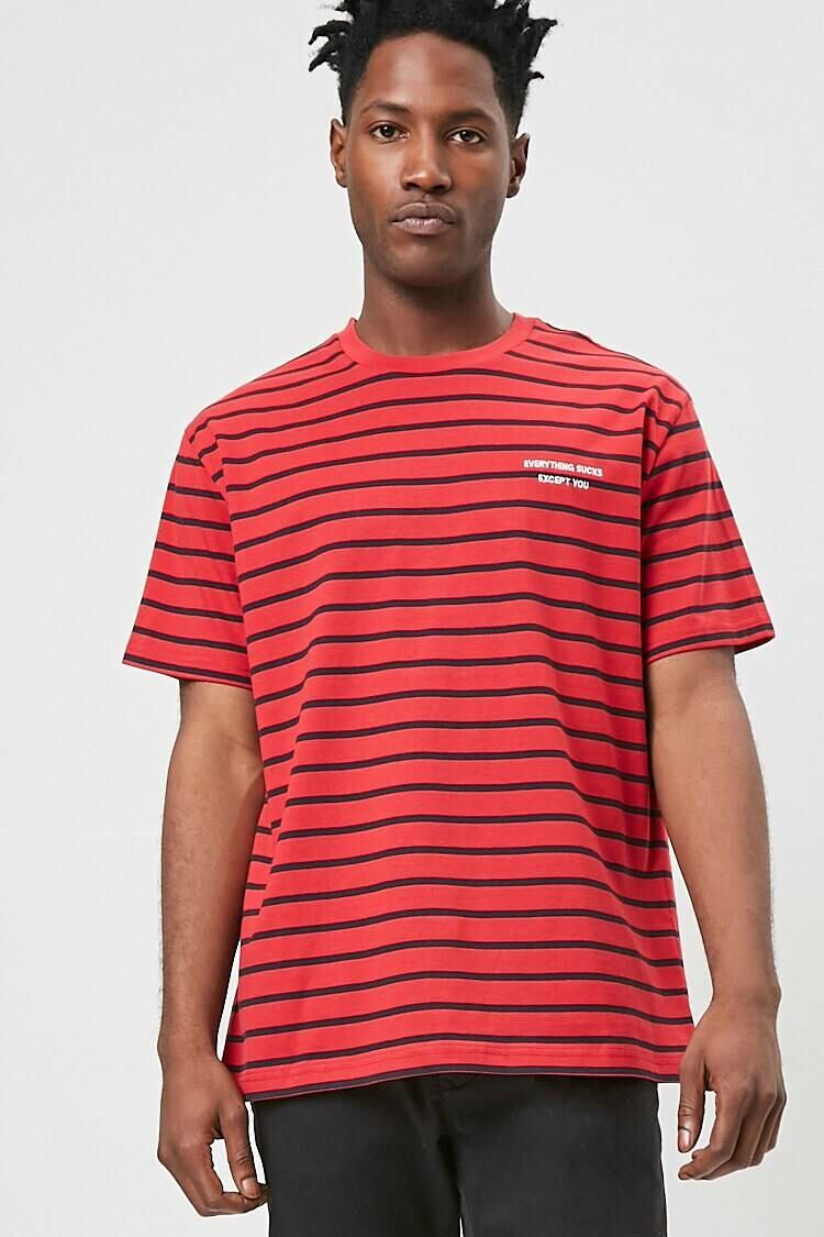 Forever 21 Red/Black Everything Sucks Graphic Striped Tee MEN Men FASHION Mens T-SHIRTS