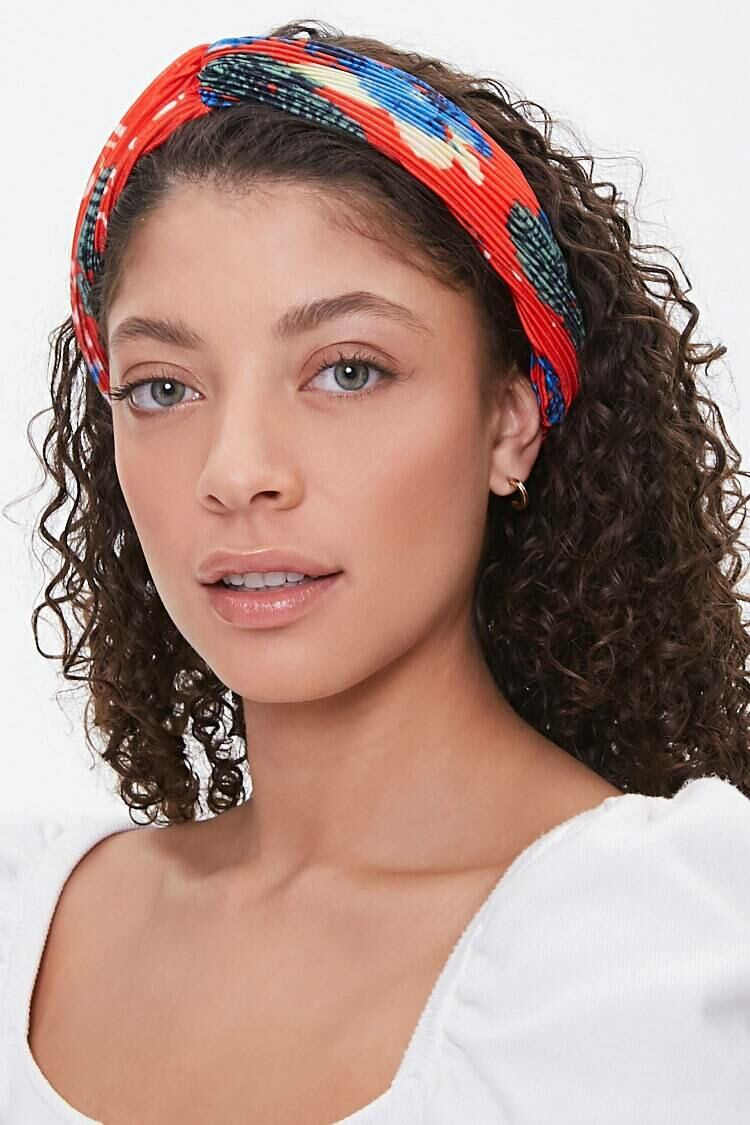 Forever 21 Red/Multi Floral Accordion-Pleat Headwrap WOMEN Women ACCESSORIES Womens HATS