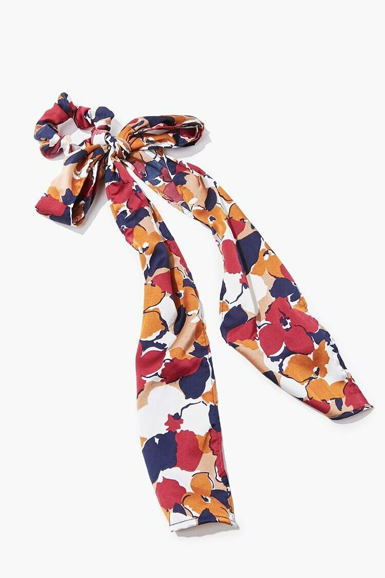 Forever 21 Red/Multi Floral Print Bow Scrunchie WOMEN Women ACCESSORIES Womens HATS