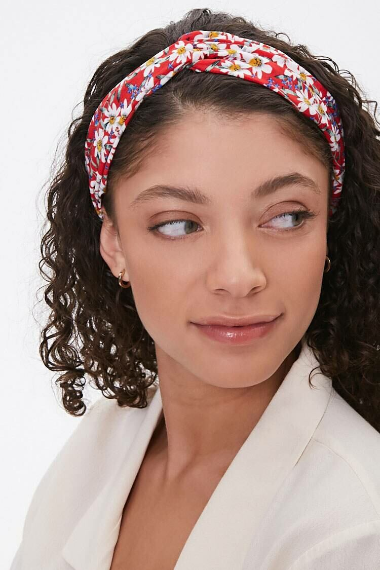 Forever 21 Red/Multi Floral Twist-Front Headwrap WOMEN Women ACCESSORIES Womens HATS
