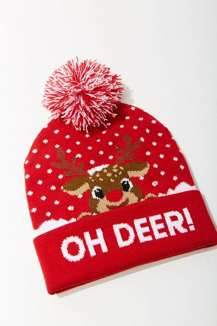 Forever 21 Red/Multi Oh Deer! Graphic Beanie WOMEN Women ACCESSORIES Womens HATS