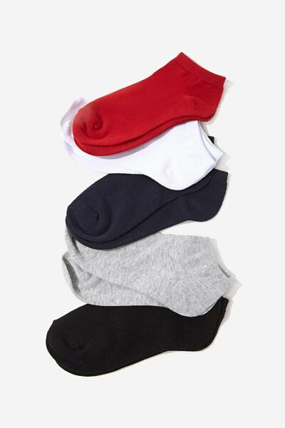 Forever 21 Red/Navy Marled Ankle Socks – 5 Pack WOMEN Women ACCESSORIES Womens SOCKS
