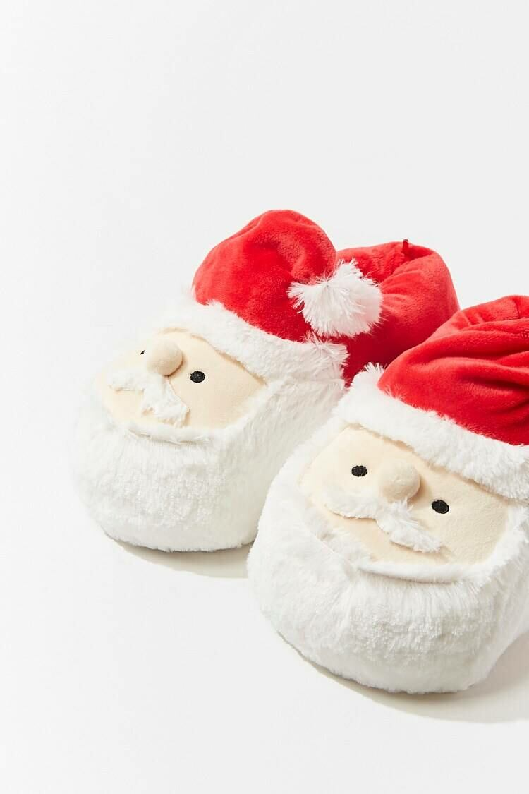 Forever 21 Red/White Plush Santa Slippers WOMEN Women SHOES Womens SLIPPERS