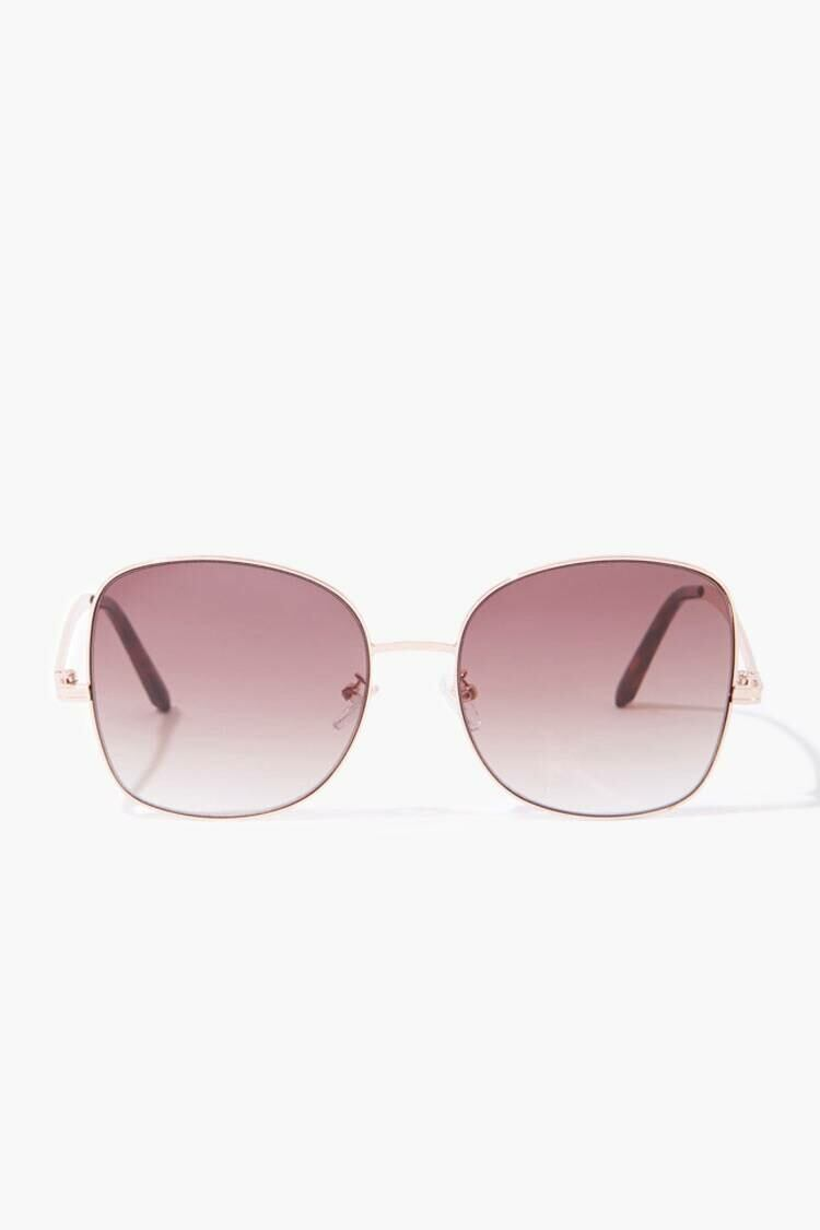 Forever 21 Rosegold/Brown Square Tinted Sunglasses WOMEN Women ACCESSORIES Womens SUNGLASSES
