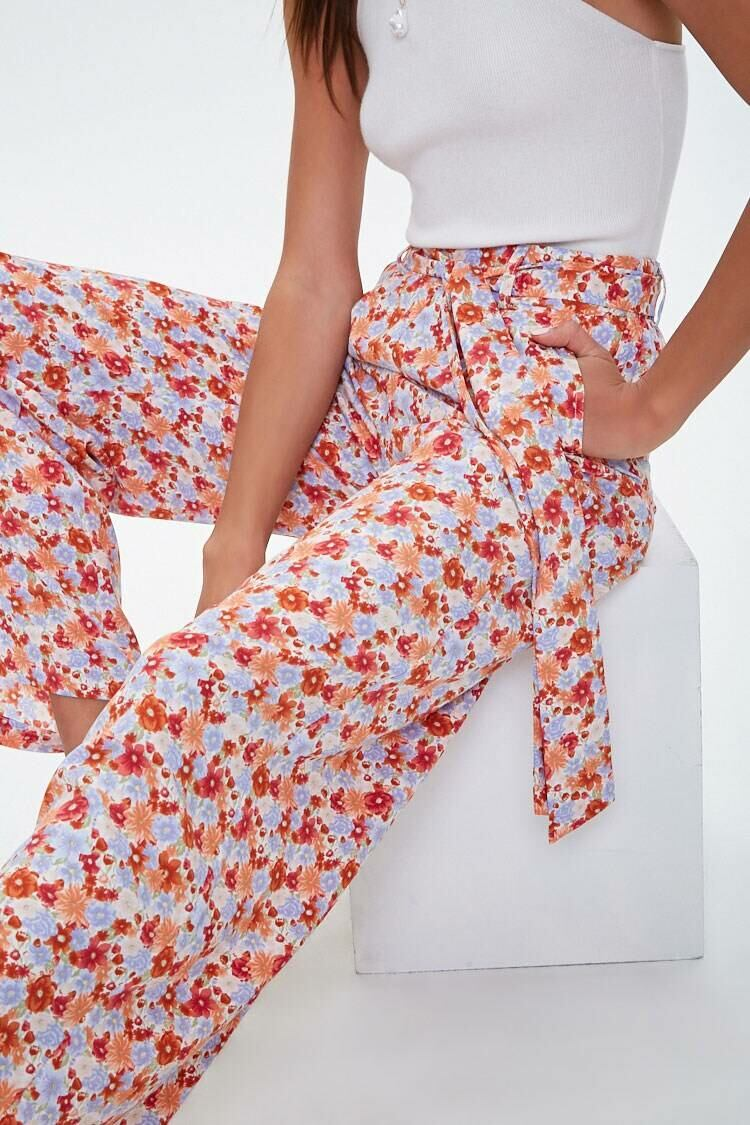 Forever 21 Rust/Periwinkle Floral Print Palazzo Pants WOMEN Women FASHION Womens TROUSERS