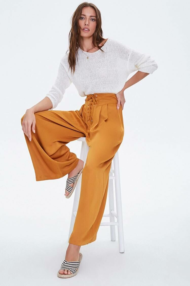 Forever 21 Sunsetgold Pleated Lace-Up Pants WOMEN Women FASHION Womens TROUSERS
