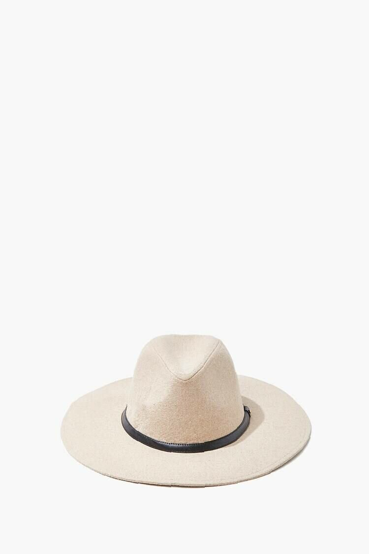 Forever 21 Tan/Black Brushed Wide-Brim Panama Hat WOMEN Women ACCESSORIES Womens HATS