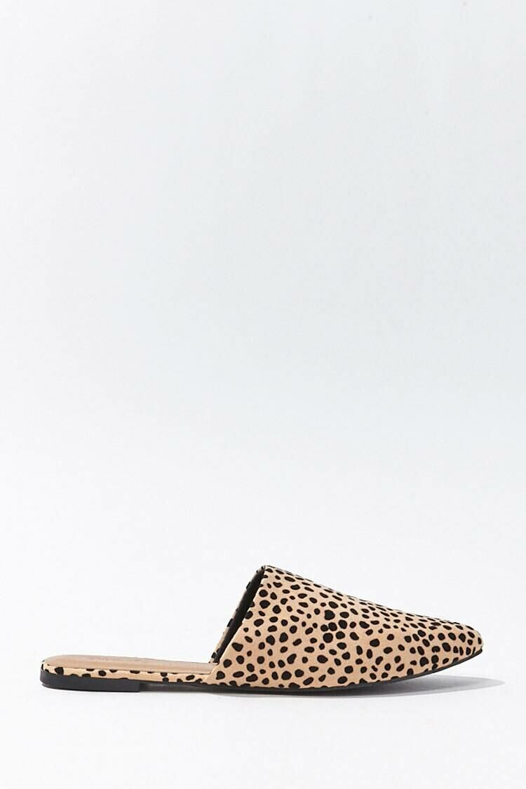 Forever 21 Tan/Black Faux Suede Cheetah Mules WOMEN Women SHOES Womens SLIPPERS