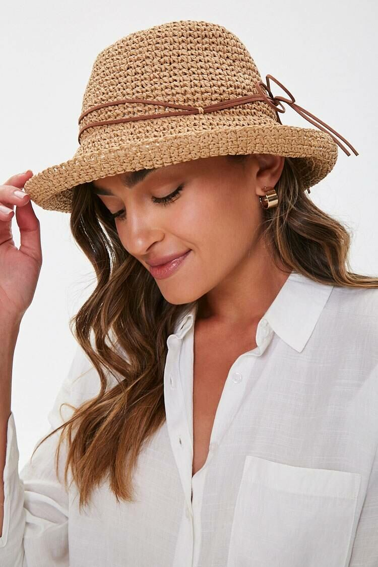 Forever 21 Tan/Brown Straw Cloche Hat WOMEN Women ACCESSORIES Womens HATS