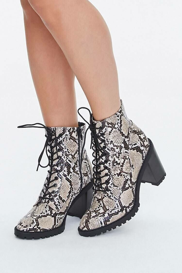 Forever 21 Tan/Multi Faux Snakeskin Lace-Up Block Heel Booties WOMEN Women SHOES Womens ANKLE BOOTS