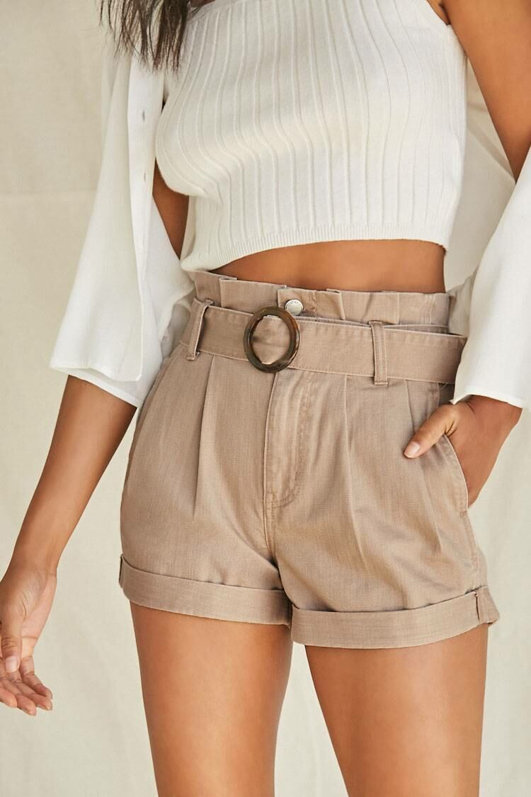 Forever 21 Taupe Belted Paperbag Denim Shorts WOMEN Women FASHION Womens SHORTS