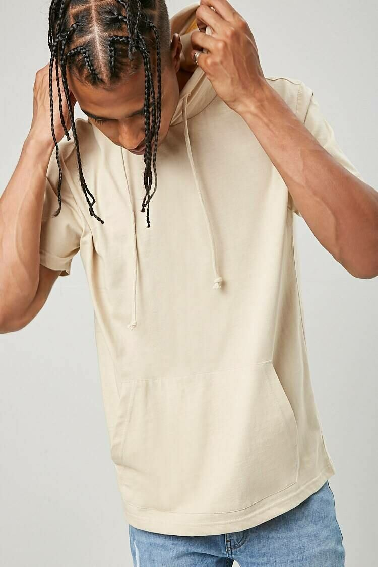 Forever 21 Taupe Drawstring Hooded Tee MEN Men FASHION Mens T-SHIRTS