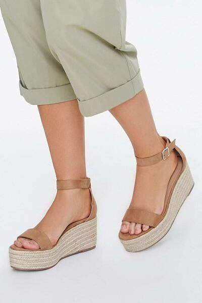 Forever 21 Taupe Espadrille Flatform Wedges WOMEN Women SHOES Womens SLIPPERS