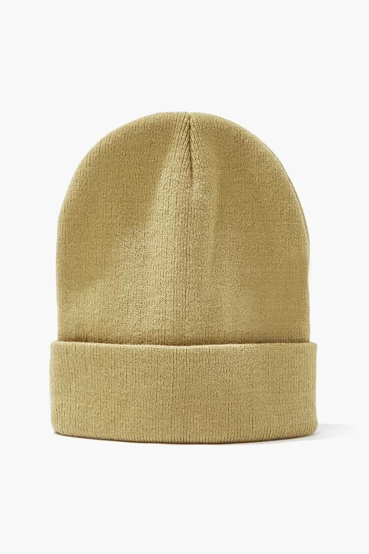 Forever 21 Taupe Foldover Knit Beanie MEN Men ACCESSORIES Mens HATS