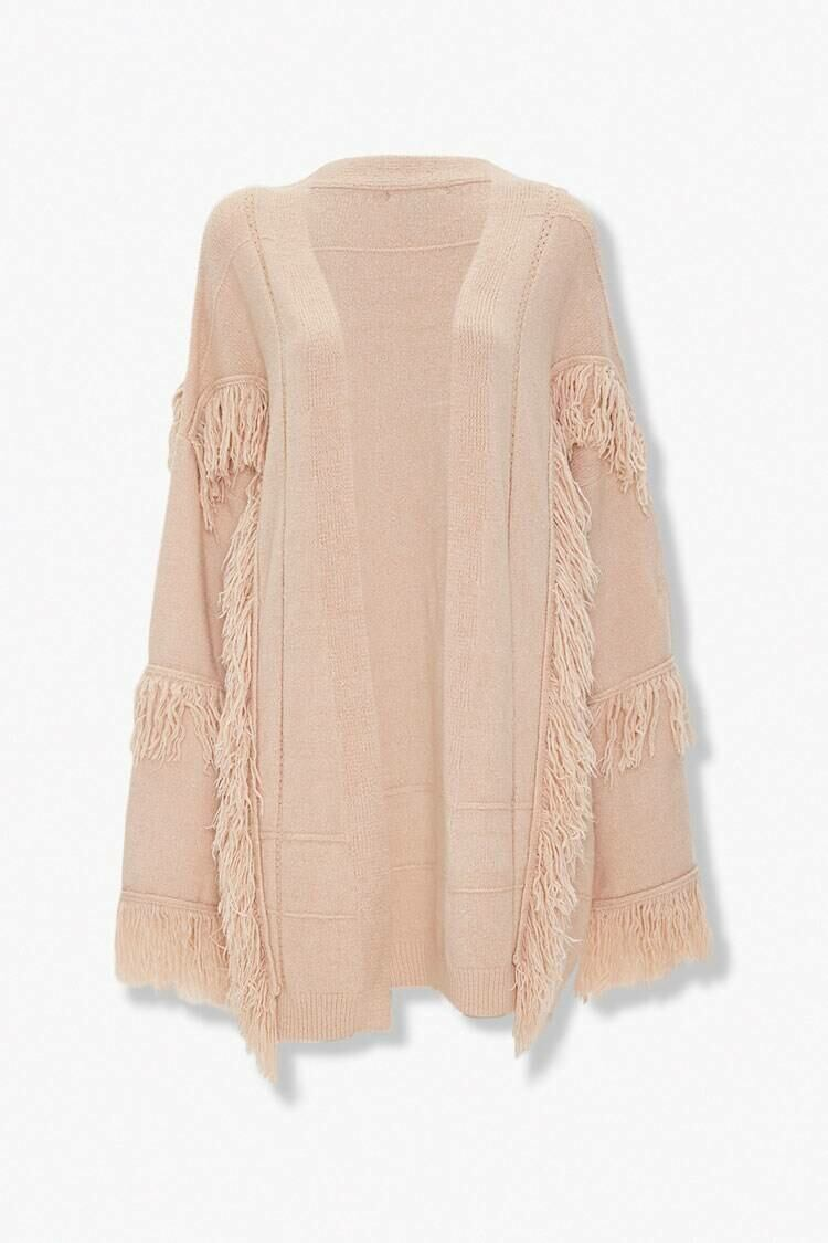 Forever 21 Taupe Fringe-Trim Open Front Cardigan WOMEN Women FASHION Womens KNITWEAR