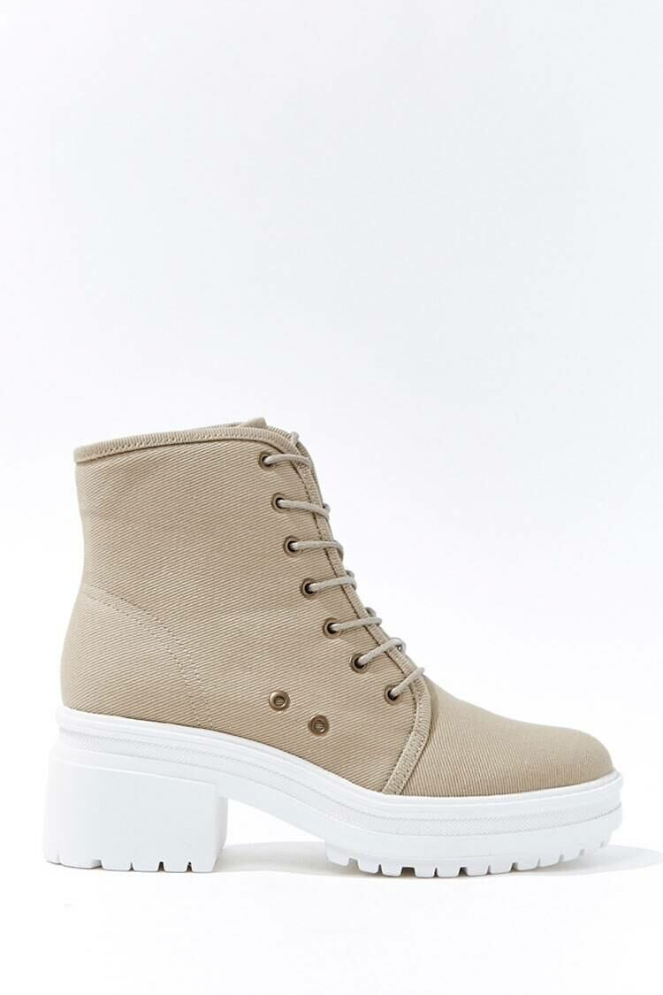 Forever 21 Taupe Lace-Up Platform Ankle Boots WOMEN Women SHOES Womens ANKLE BOOTS