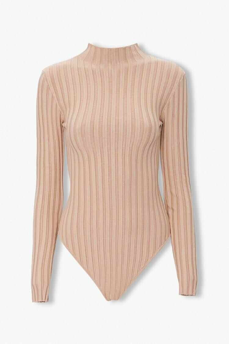 Forever 21 Taupe Mock Neck Bodysuit WOMEN Women FASHION Womens JUMPSUITS