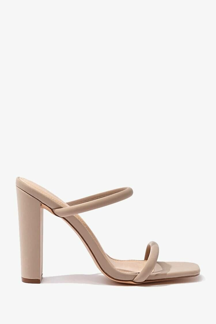 Forever 21 Taupe Open-Square Toe Block Heels WOMEN Women SHOES Womens HIGH HEELS