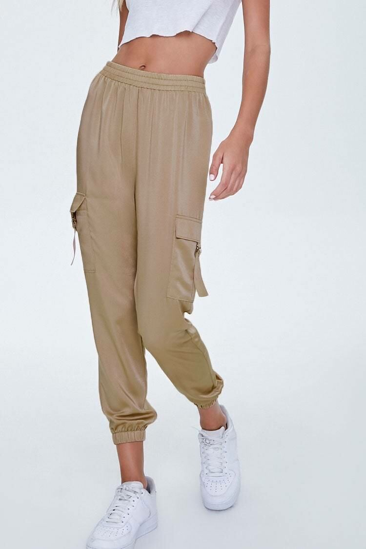 Forever 21 Taupe Satin Cargo Joggers WOMEN Women FASHION Womens TROUSERS