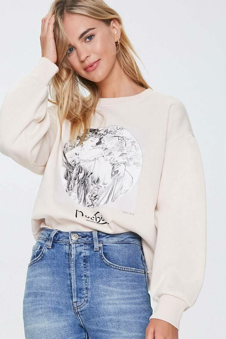 Forever 21 Taupe/Black Alphonse Mucha Graphic Pullover WOMEN Women FASHION Womens SWEATERS
