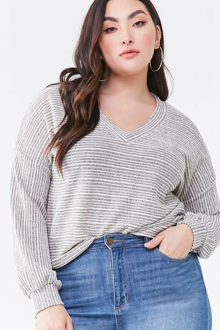 Forever 21 Taupe/Grey Plus Size Striped V-Neck Sweater WOMEN Women FASHION Womens SWEATERS