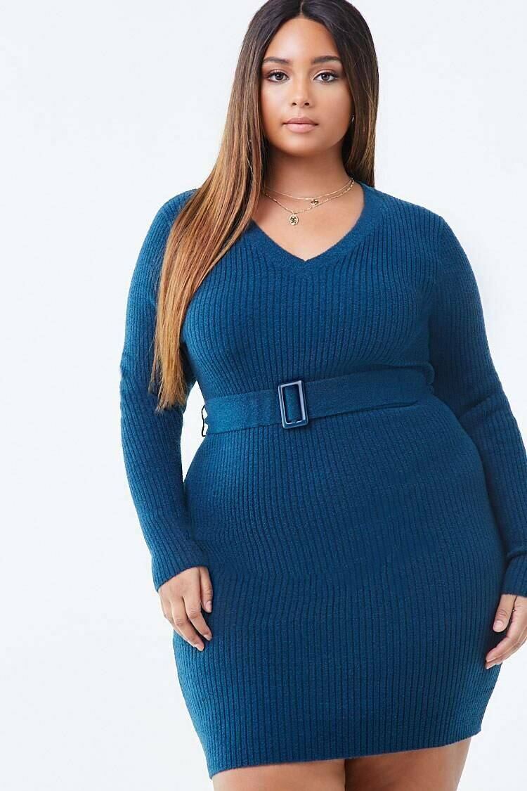 Forever 21 Teal Plus Size Belted Sweater Dress WOMEN Women FASHION Womens SWEATERS