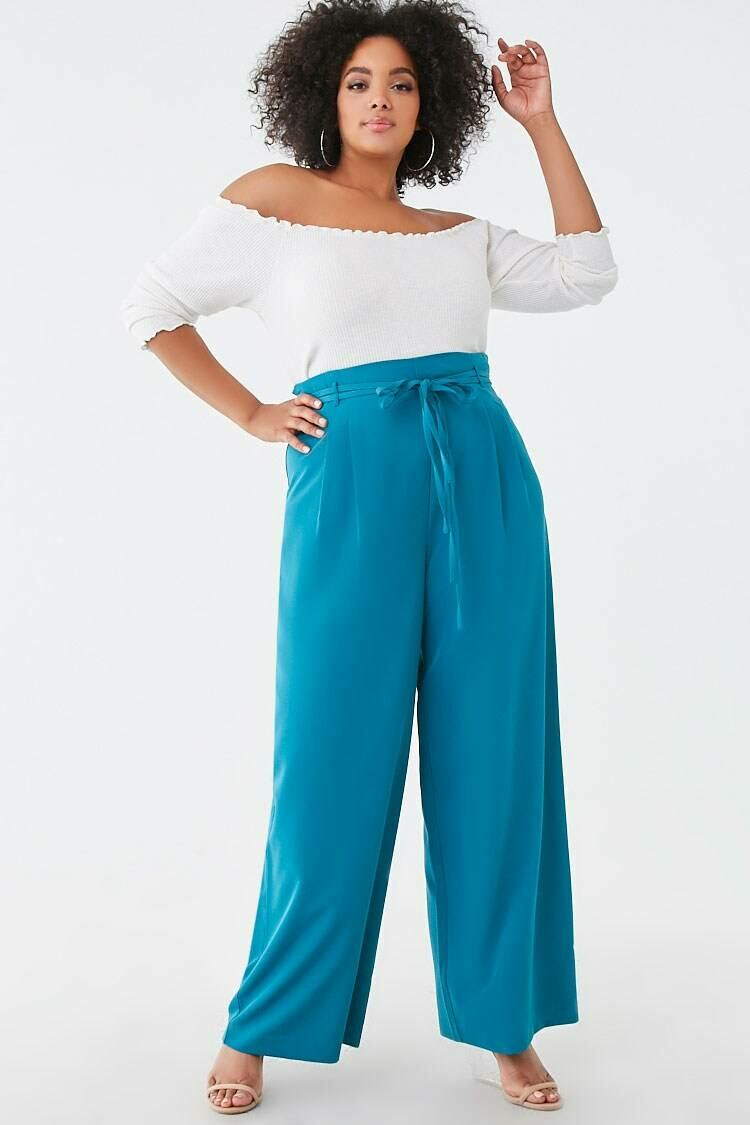 Forever 21 Teal Plus Size Belted Wide-Leg Pants WOMEN Women FASHION Womens TROUSERS