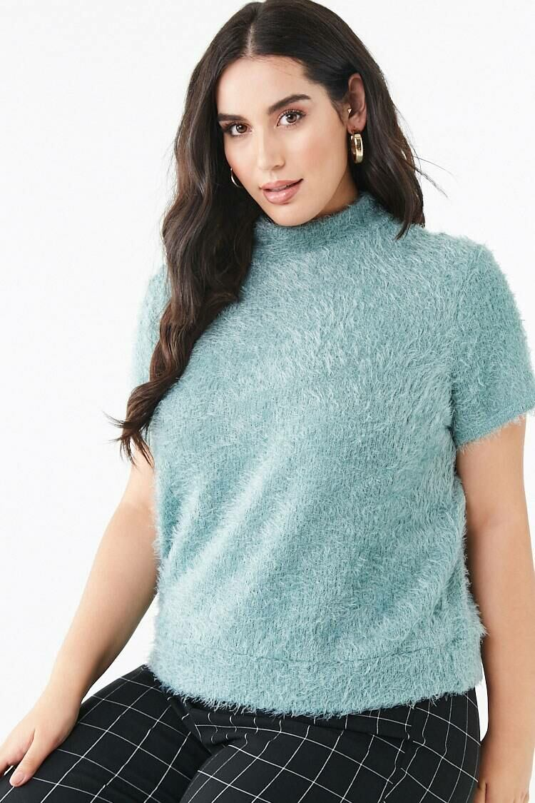 Forever 21 Teal Plus Size Feathered Knit Tee WOMEN Women FASHION Womens T-SHIRTS