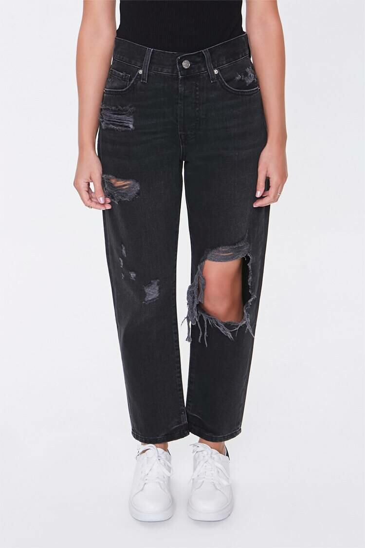 Forever 21 Washedblack The Westwood Destroyed High-Rise Petite Mom Jeans WOMEN Women FASHION Womens JEANS